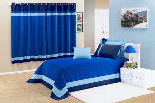 kit cobreleito stylo azul jogo de cama para quarto de menino