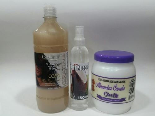 kit coco y almendra canela. shampoo y crema