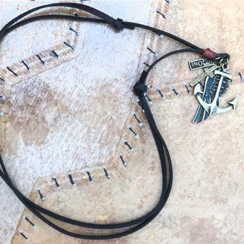 kit colar ancora e pulseiras masculina couro e brinde