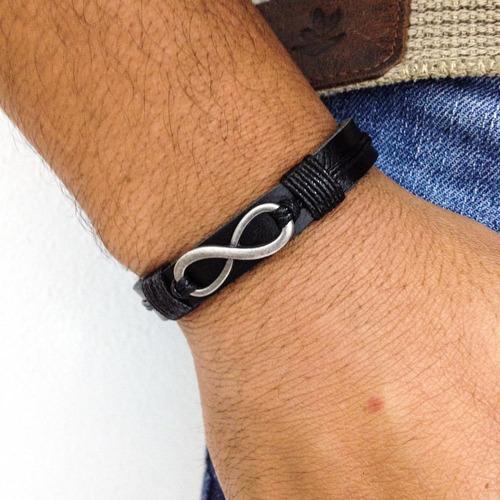 kit colar asa ancora mais 4 pulseiras masculinas de couro