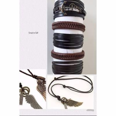 kit colar asa mais 5 pulseiras masculinas em couro