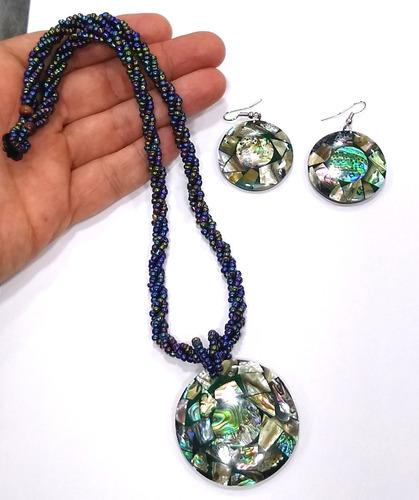 kit colar + brincos de madrepérola e abalone naturais aba05