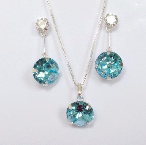 kit colar e brinco feminino topázio azul prata de lei 925