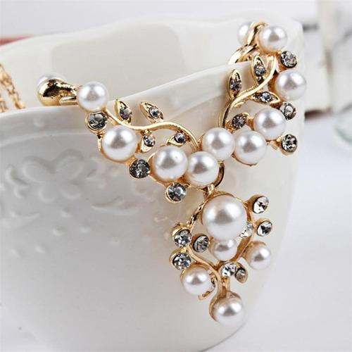 kit colar e brincos feminino festa de casamento social luxo