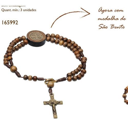 kit colar terço + pulseira são bento imbuia c/ cruz medalha