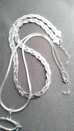 kit colares 3 fios,laminada, pingente oakley, frete grátis