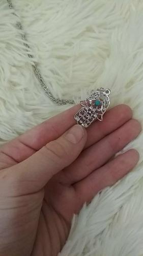 kit  colares pulseira mão de fátima hamsa couro 3 brindes