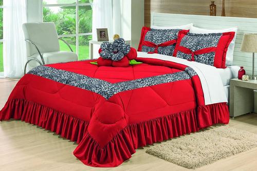 kit colcha amazon casal queen 4 pç cobre leito vermelho