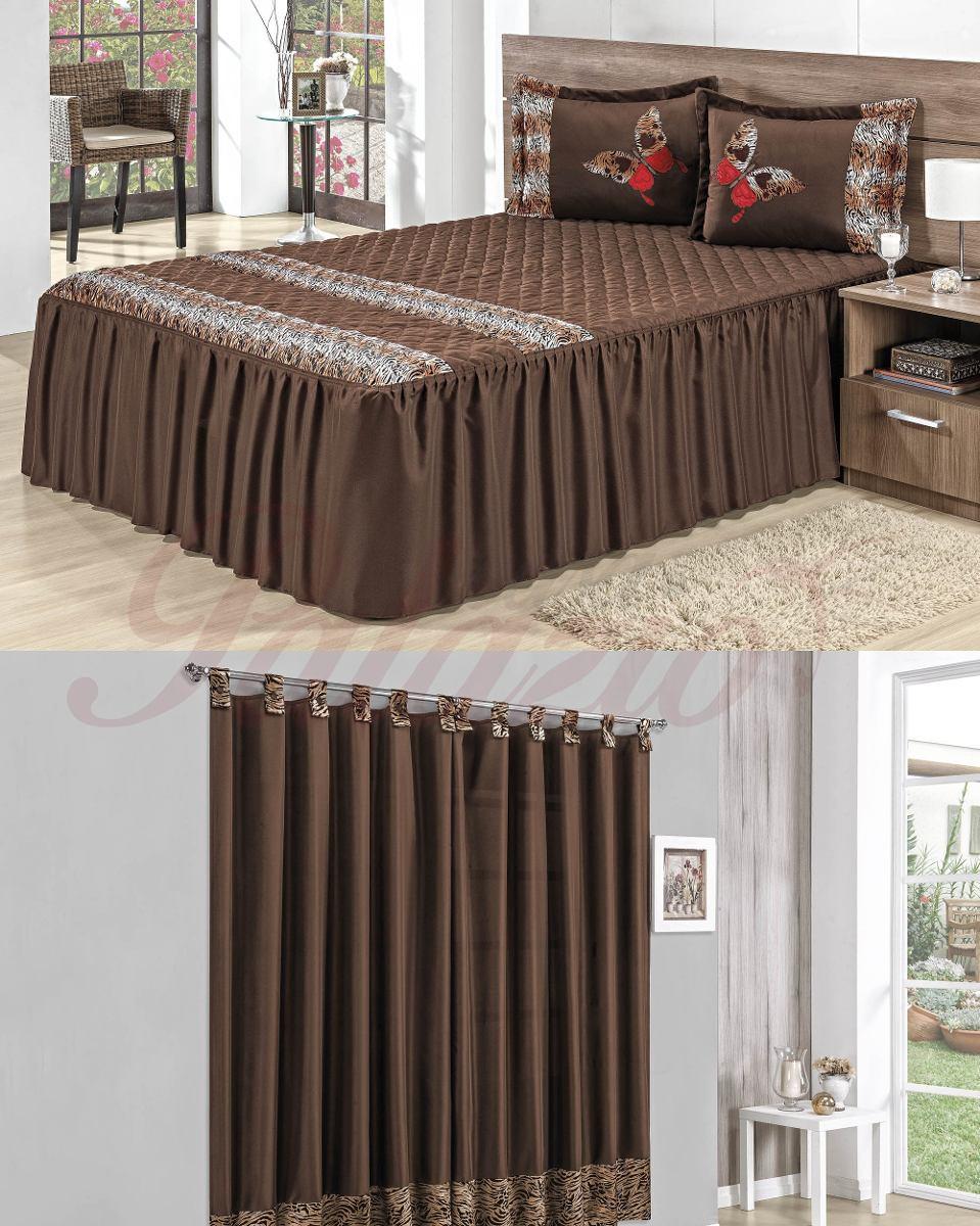 Kit colcha casal queen cortina natureza 4 p varias cores r em mercado livre - Cortinas para cama ...