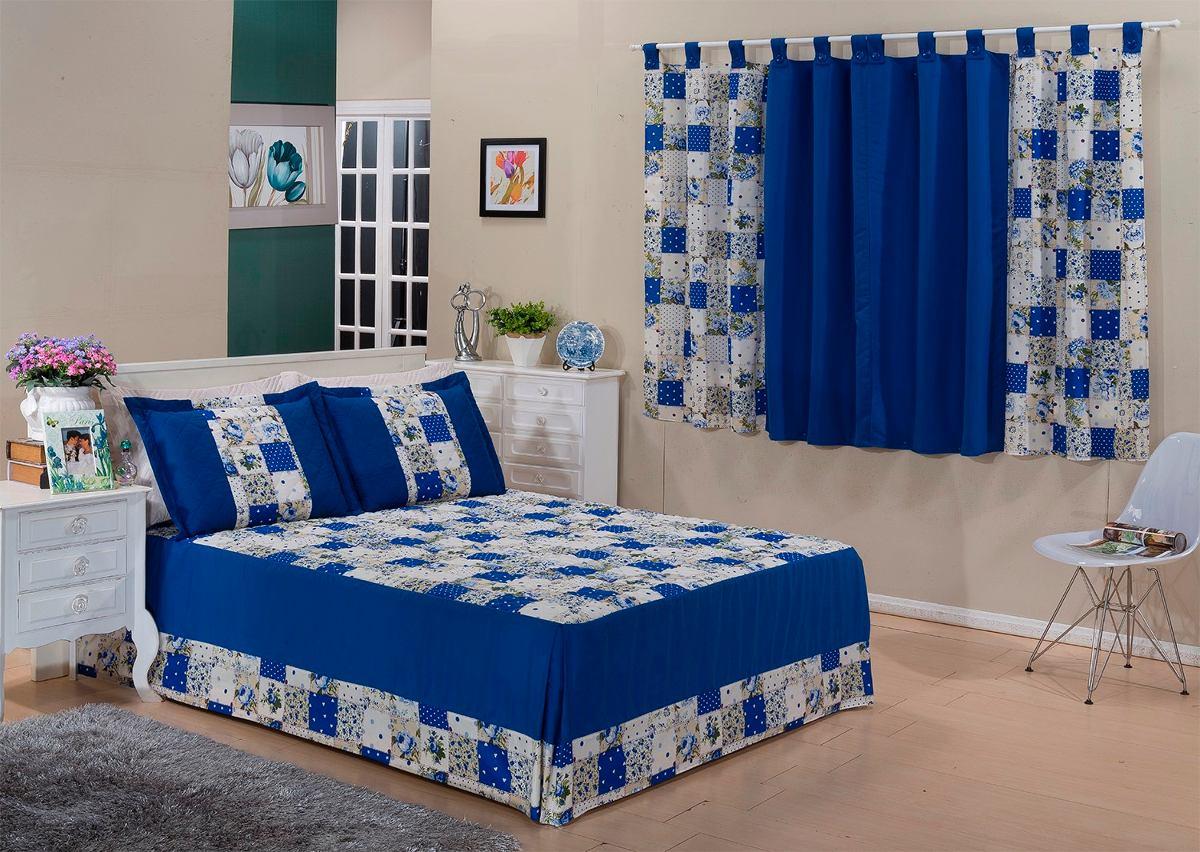 Kit colcha casal queen e cortina valentina 4 p frete gratis r 167 50 em mercado livre - Cortinas para cama ...