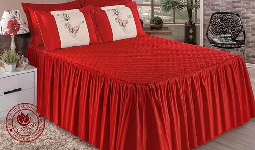 kit colcha casal queen matelada e bordada + cortina 2 metros