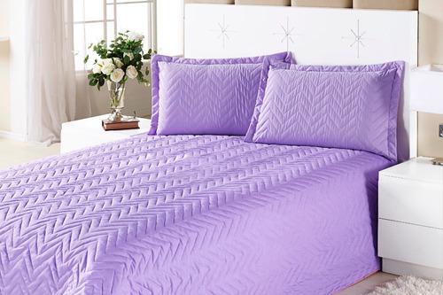 kit colcha clean casal padrão cor lilás 4 peças