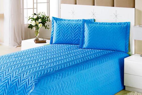 kit colcha clean casal queen cor azul 4 peças