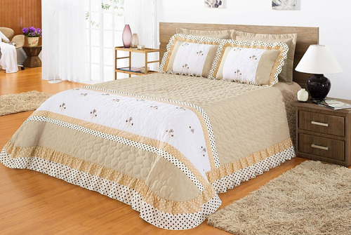 kit colcha cobre leito cama de casal padrão bordado e babado