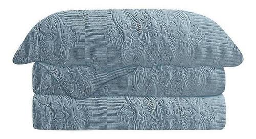 kit colcha damask casal 220x240cm microfibra azul - camesa