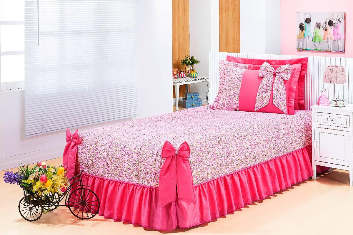 a0c057727f kit colcha menina solteiro 03 peças 100% algodão rosa. Carregando zoom.