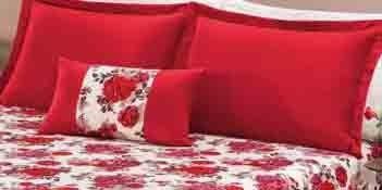 kit colcha riviera casal queen em percal c/ 5 pçs vermelho