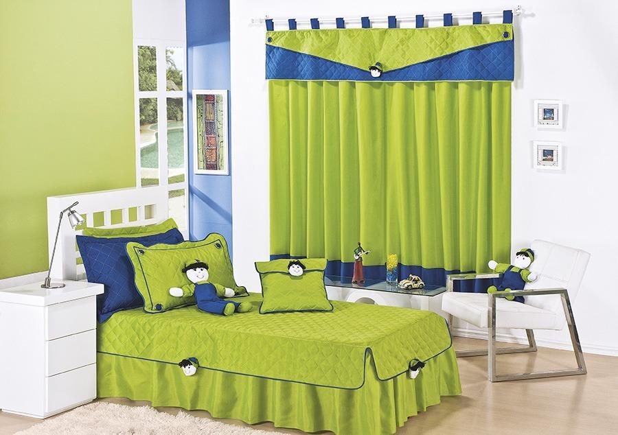 08149732a5 kit colcha solteiro cobre leito menino + cortina infantil. Carregando zoom.