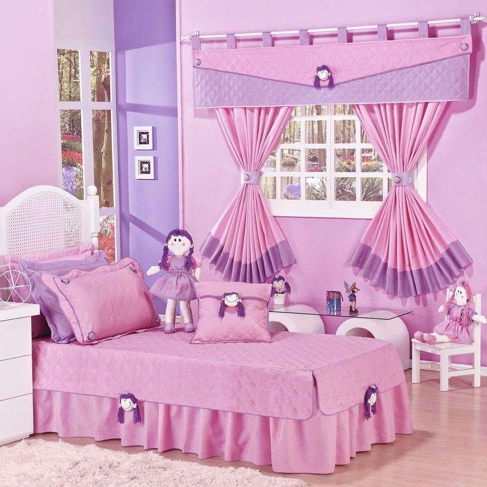 Kit colcha solteiro cortina infantil de menina ou menino r 219 80 em mercado livre - Cortinas para cama ...