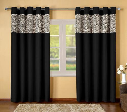 kit colcha/cobreleito queen+cortina 2 metros 6 pçs cor preto