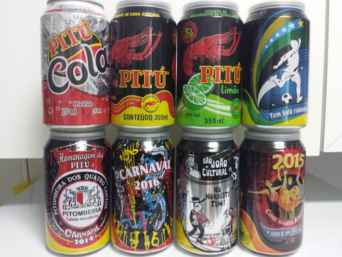 kit coleção com 08 latas de aguardente pitú - 350 ml