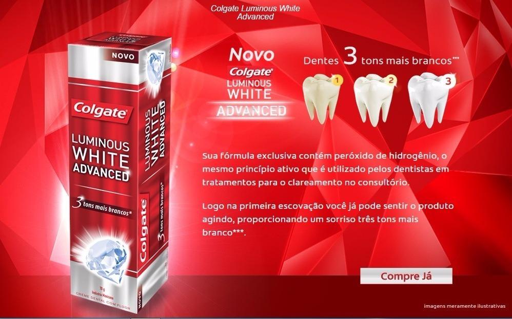Kit Colgate Luminous White Advanced Enxaguante Creme Dental R 33