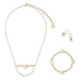 5ff6aa8e0b3d Kit Collar Aretes Pulsera En Baño De Oro Perla Joyería Nice