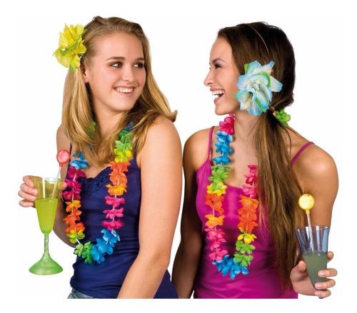 kit collar hawaiano + corona + 2 pulsera 100% fiesta