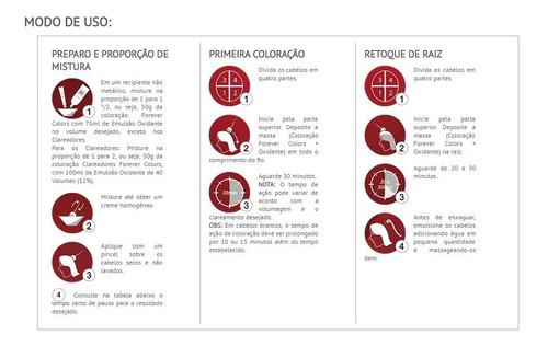 kit coloração - 52-62 marsala ox 30 volume 80ml forever liss