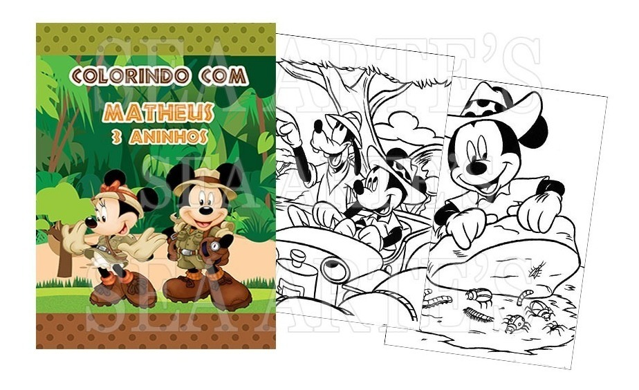 Kit Colorir Revista E Giz Mickey Safari 36 Unid R 156 40 Em