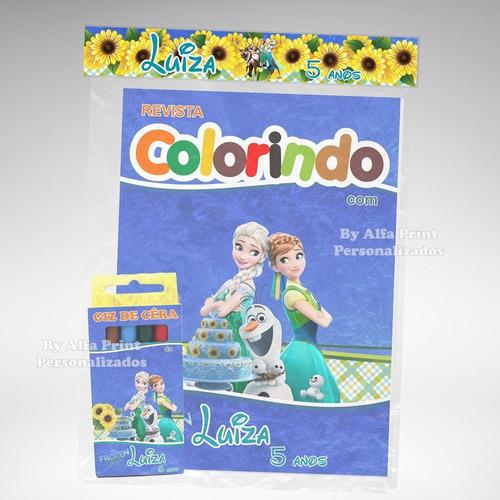 kit colorir revistinha lembrancinha frozen fever + brindes