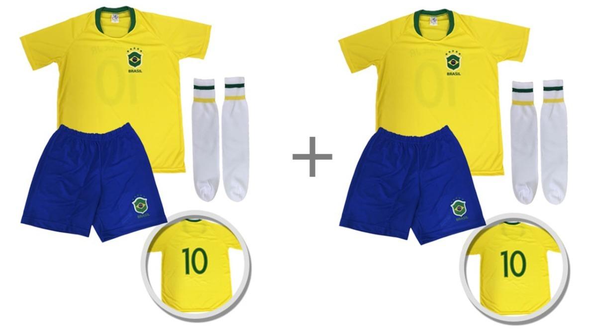 b3fbc95ee kit com 02 conjunto do uniforme infantil seleção brasileira. Carregando zoom .