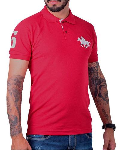 kit com 02 polos tradicionais da marca vermelho e cinza