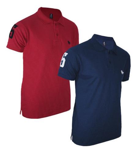 kit com 02 polos tradicionais  vermelho e azul marinho