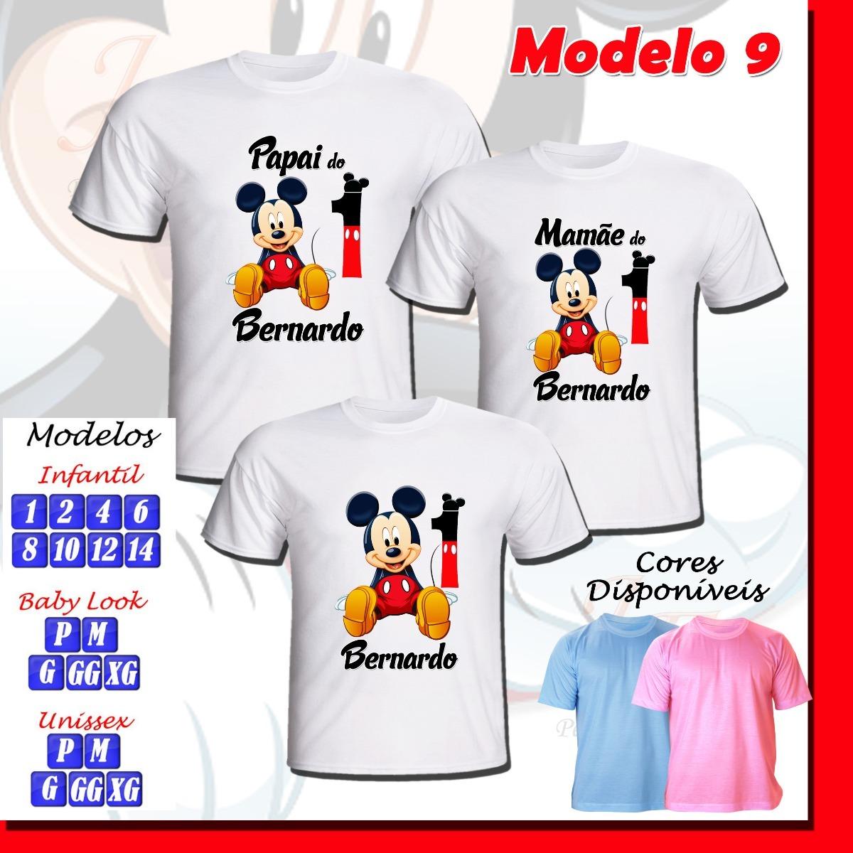 kit com 03 camisetas personalizadas infantil adulto mickey. Carregando zoom. f55c4b0ce36