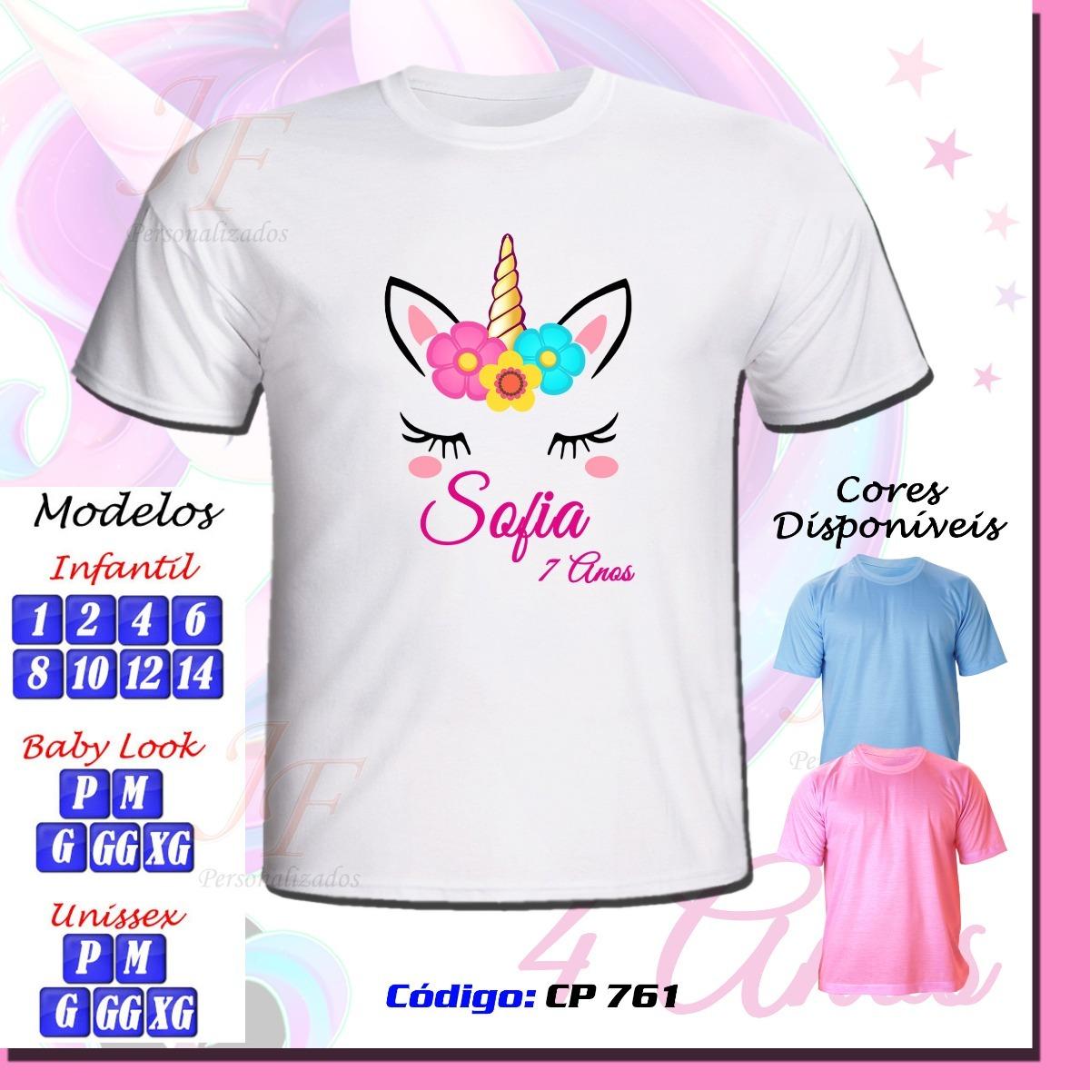 kit com 03 camisetas personalizadas unicórnio. Carregando zoom. fe9b30ee56973