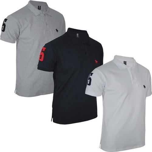 kit com 03 polos tradicionais  - branco - preto e cinza