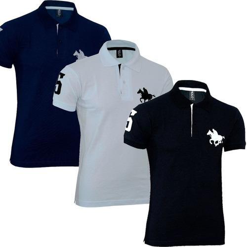 kit com 03 polos tradicionais  - marinho - branco e preto