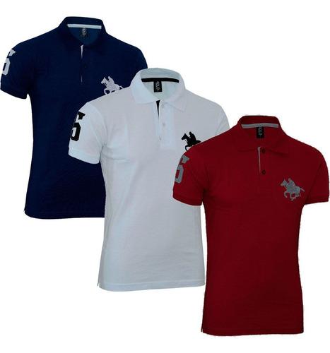 kit com 03 polos tradicionais - marinho - branco e vermelho
