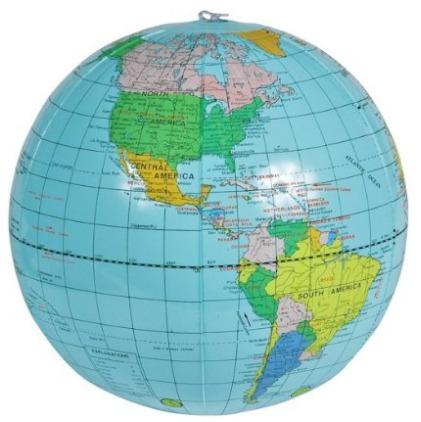 mapa mundi globo Kit 04 Globos Terrestres Inflável 80cm Circunferencia   R$ 135  mapa mundi globo