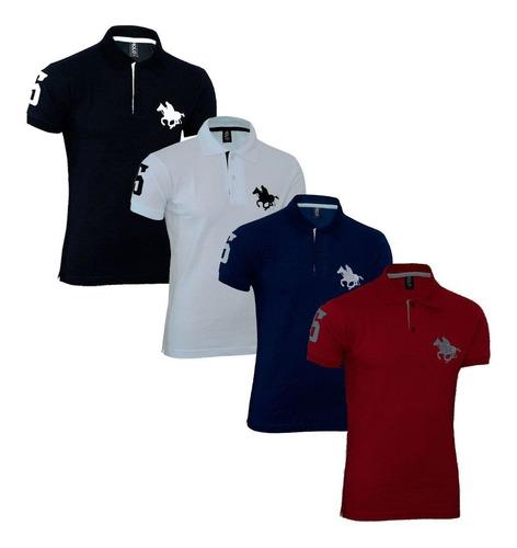 kit com 04 polos tradicionais -vermelho-branco-preto-marinho