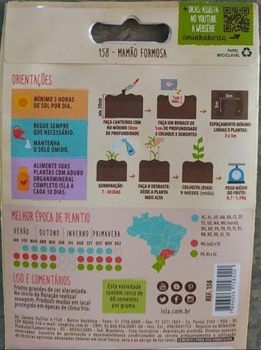 kit com 05 envelopes-sementes de mamão formoso - 200mg isla