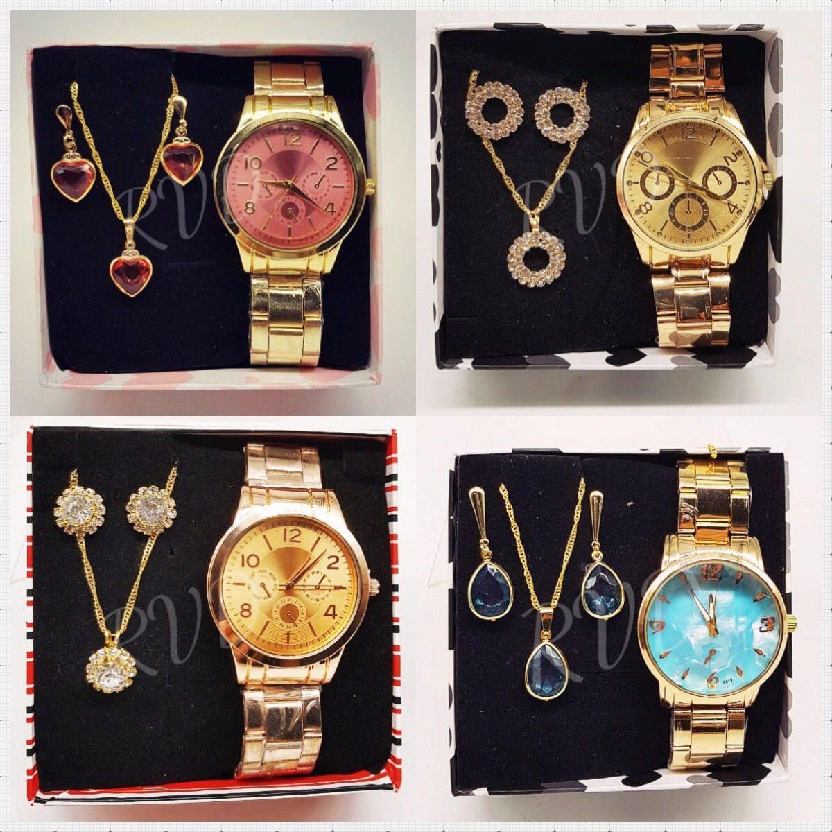 c4a914bcff5 Kit Com 05 Relógios Feminino Atacado + Joias Foliado + Caixa - R ...