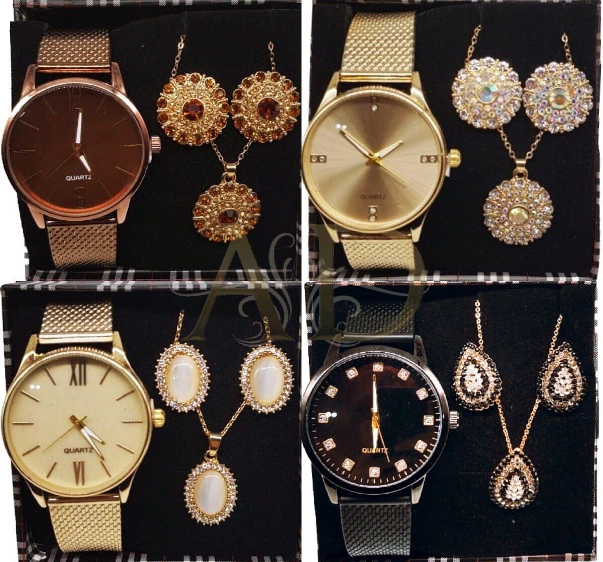 3bd70c47382 Kit Com 05 Relógios Feminino Atacado + Joias Grandes + Caixa - R ...