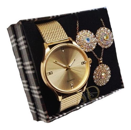 kit com 05 relógios feminino atacado + joias luxo + caixa