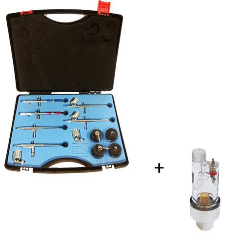 kit com 06 aerografos para pigmentação+ maleta + mini filtro