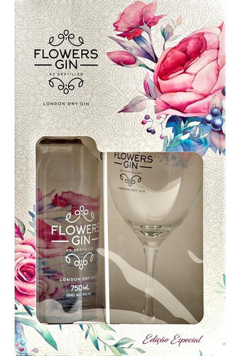 kit com 1 gin flowers garrafa 750ml + 1 taça