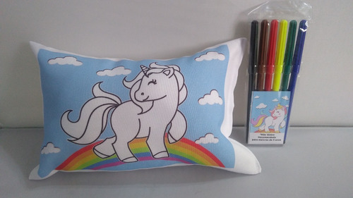 kit com 10 almofadas laváveis para colorir unicórnio