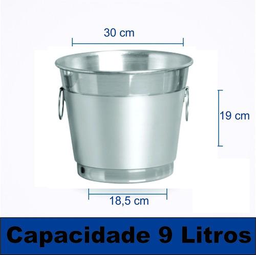 kit com 10 balde para gelo e cerveja 9 litros em alumínio