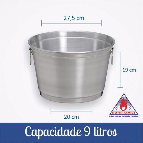 kit com 10 balde para gelo e cerveja de 9 litros em aluminio